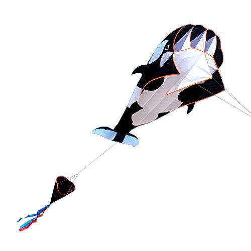 Festnight 3D Waldrachen Kite Riesige Rahmenlose Drachen 3D-Waldrachen Weiche Parafoil Wal Muster Flying Kite 120 x 215cm Outdoor Spielzeug