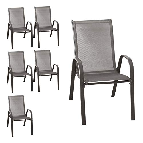 Wohaga 6er Set Stapelstuhl 'New York', Textilenbespannung Anthrazit, Stahlgestell pulverbeschichtet, stapelbar, Gartenstuhl
