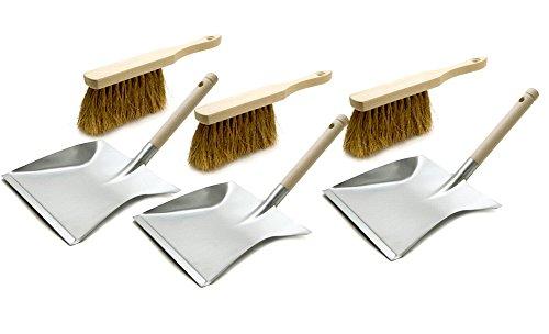 3 Stück Handwerker Kehrgarnitur Kehrblech-Set und Handfeger Kehrschaufel Kehrset Kokos