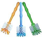 3er Pack Mixtopf Spülbürste mit Nylonborsten - ideal zum Reinigen von Mixtöpfen wie z.B. Thermomix  TM5/TM31 und Mixtöpfe anderer Hersteller - je 1x in Blau/Grün/Orange