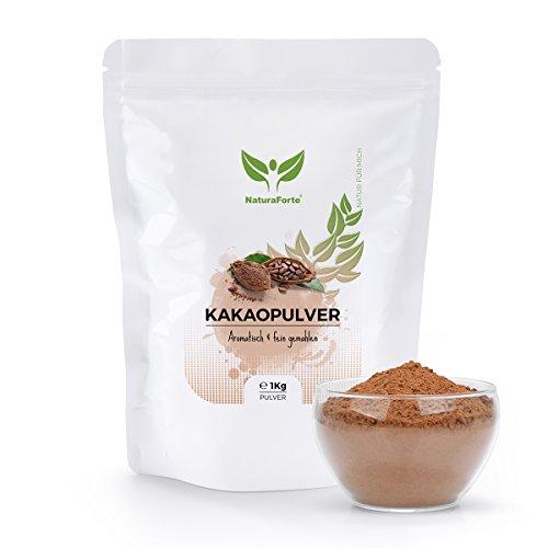 NaturaForte Kakaopulver 1 kg Stark Entölt, Rohkost ohne Zucker, 100 Prozent reiner Kakao aus hochwertigen Bohnen, Geringer Fett-Gehalt, Glutenfrei, Intensives Aroma