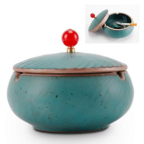 ONEDERZ Aschenbecher für Draußen mit Deckel, Keramik Windaschenbecher Geruchsdicht Sturmaschenbecher für Couchtisch Klein Dekoration Wohnung Schlafzimmer Balkon (Blau)