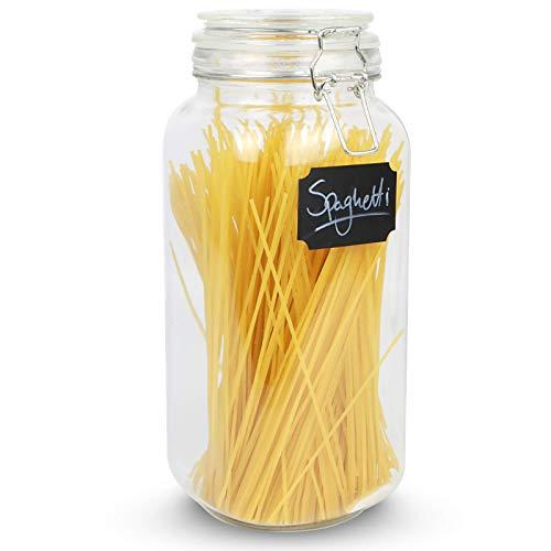 Maison & White 2.2L Clip Top Spaghetti Vorratsglas | Rundglas luftdicht Vintage Groß Container | Pasta & Müsliriegel | Trockene Nahrungsmittelbehälter