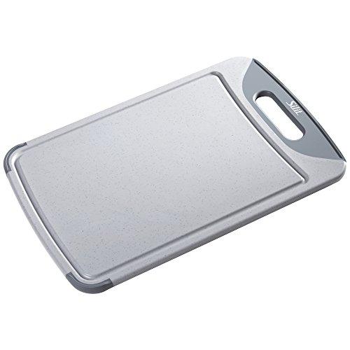 Silit Schneide-/ Tranchierbrett, grau, 45 x 30 cm, rechteckig aus hochwertigem Kunsstoff Saftrillen, mit praktischem Griff spülmaschinengeeignet leichte Reinigung hygienisch geschmacksneutral