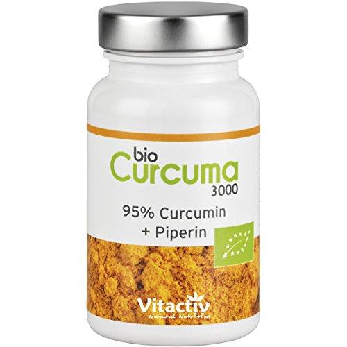 CURCUMA 3000 - BIO - 3000mg Kurkuma Pulver pro Kapsel (als 30:1 Extrakt) (60 Kapseln - für 2 Monate)