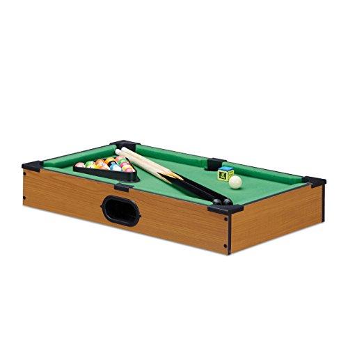 Relaxdays Tischbillard, Billardtisch in Holz-Optik, mit 2 Queues, Kugeln, Dreieck und Kreide, B x T: 51 x 31 cm, grün