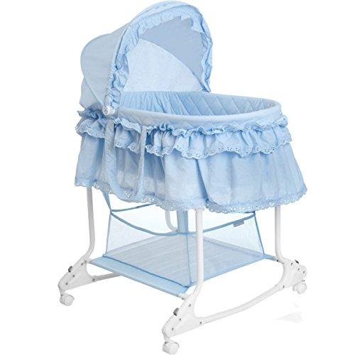 Babywiege / Stubenwagen mit Schaukelfunktion (Abnehmbarer Babykorb) (Hellblau)
