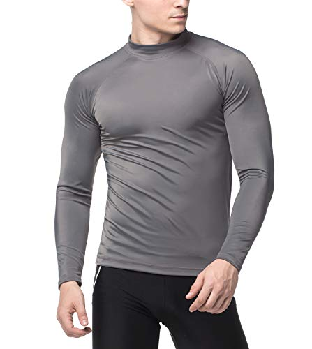 LAPASA Herren UV Sonnenschutz UPF 50+ Basic Skins Langarm Rash Guard Crew Shirt MEHRWEG M43 (Dunkelgrau(ohne Logo), L (letzter Abbildung zufolge))