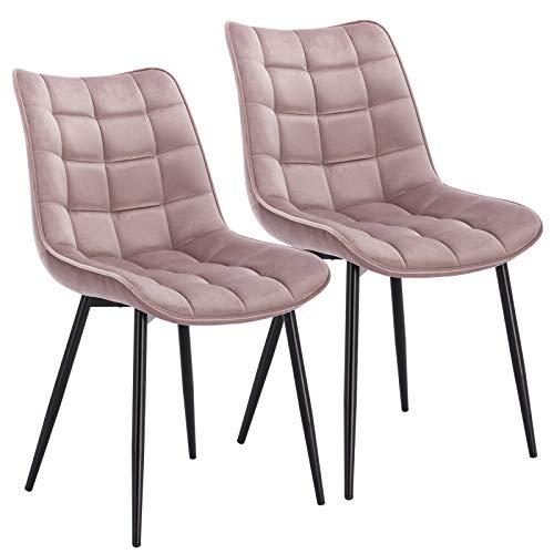 WOLTU Esszimmerstühle BH142rs-2 2er Set Küchenstuhl Polsterstuhl Wohnzimmerstuhl Sessel mit Rückenlehne, Sitzfläche aus Samt, Metallbeine, Rosa