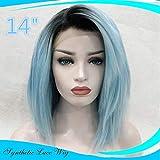 Blau Perücke Damenperücke kurz, Luckyfine Blau Lace Frontseiten Haar Perücken schulterlang, Glatte Perücke Cosplay Party Perücke, Natürliche Wie Echthaar Synthetische Perücke 14 '' (hell blau)