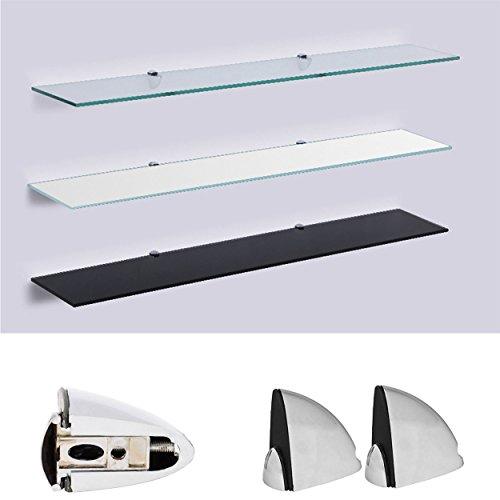 Euro Tische - Glasregal Wandregal - 6mm Sicherheitsglas  6 Größen: 50, 60, 70, 80, 90, 100 cm  3 Farben: klar, schwarz, weiß   Regal aus Glas, Glasablage, Glasboden, Badregal inkl. Halterung