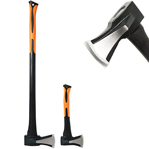 Axt + Beil 2er Set gummierter, ergonomischer Handgriff Aufhängebohrung - Universalaxt Universalbeil Spaltaxt Spaltbeil Spalthammer Holzspalter