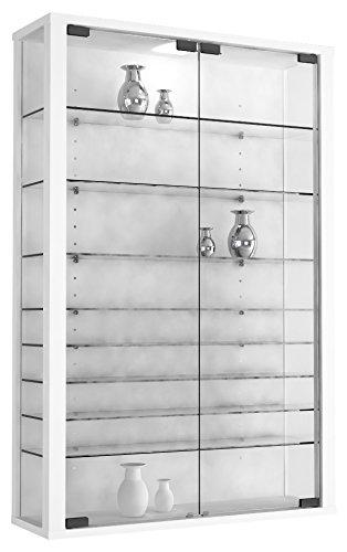 VCM Vitrine Wandvitrine Sammelvitrine Wand Regal Glas Hänge ohne Beleuchtung Weiß 90 x 59 x 18 cm 'Vitrosa Mini'
