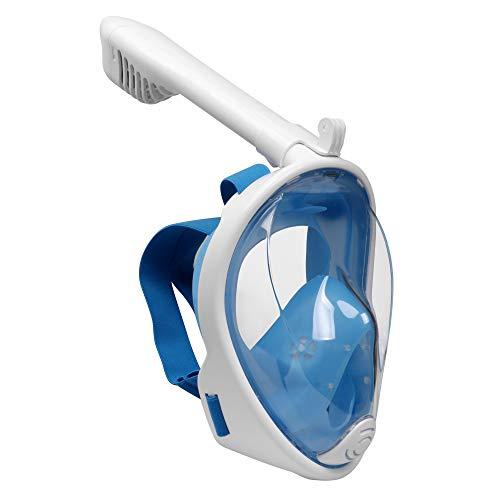 Emsmil Kinder 180°Schnorchelmaske Tauchmaske Schnorchelset Vollmaske Taucherbrille mit Anti Fog und Anti Leak Easybreath für GoPro Schwimmen und Tauchen Kinder XS Blau
