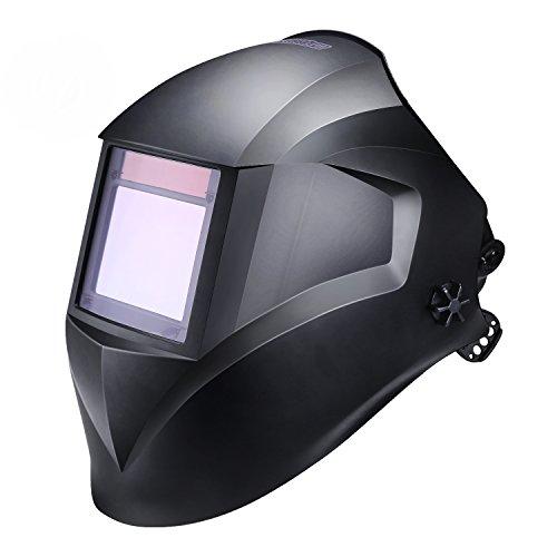 Schweißhelm, Tacklife PAH03D Automatik Schweißhelm mit 4 Sensoren, großem Sichtfeld(100 x 73mm), Optische Klasse(1/1/1/1), Solar Schweißmaske (Variable Abdunklung 4-8 / 9-13, inkl. 6 Ersatzgläser)
