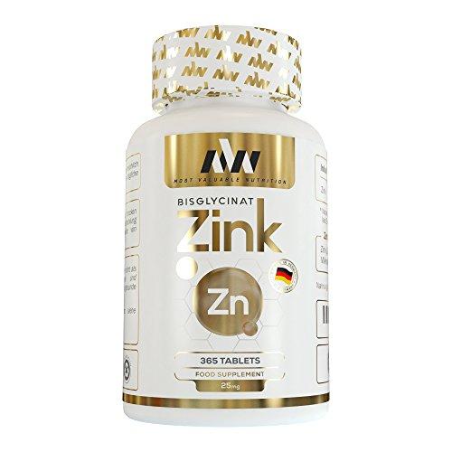 MVN Zink 365 Tabletten Hochdosiert   Vegan   25mg Zink Bisglycinat   Hoch bioverfügbares Zink Chelat   Ohne unerwünschte Zusätze   Made in Germany