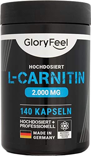 GloryFeel L-Carnitin Kapseln Hochdosiert 3000-140 vegane Kapseln - 3.000mg original L-Carnitintartrat davon 2.000mg reines L-Carnitin - Laborgeprüft und ohne Zusätze hergestellt in Deutschland