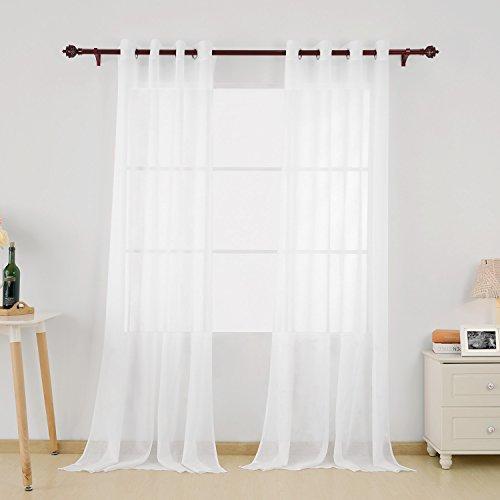 Deconovo 2er Set Vorhang Transparent Gardinen Wohnzimmer Voile Vorhang Ösenvorhang 245x140 cm Weiß 2er set