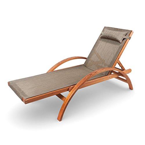 Ampel 24 Liegestuhl Caribic | Verstellbare Rückenlehne | 100% wetterfeste Gartenliege | Sonnenliege mit Armlehnen | Gartenmöbel aus vorbehandeltem Holz