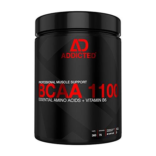 BCAA 1100 von ADDICTED 300 Kapseln • Essentielle Aminosäuren & Vitamin B6 für Muskelaufbau und Muskelerhalt • Aminos 2:1:1 für Kraftsport | Bodybuilding | Fitness | zum Abnehmen und für Diät
