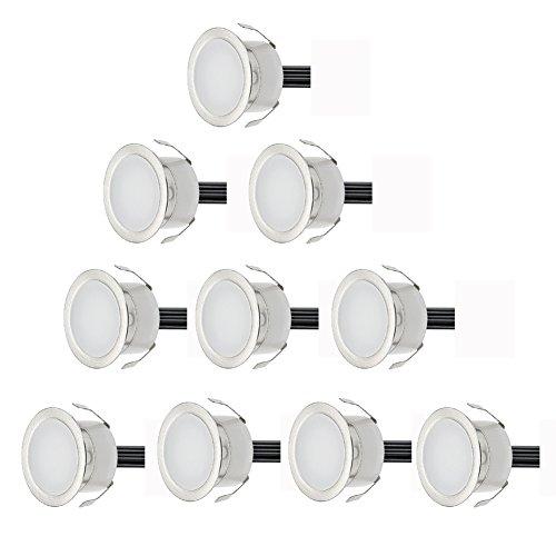 10er Set Ø30mm LED Bodeneinbaustrahler Aussen IP67 0.6W Wasserdichte Bodenleuchten Terrasse Einbauleuchten Warmes Weiß