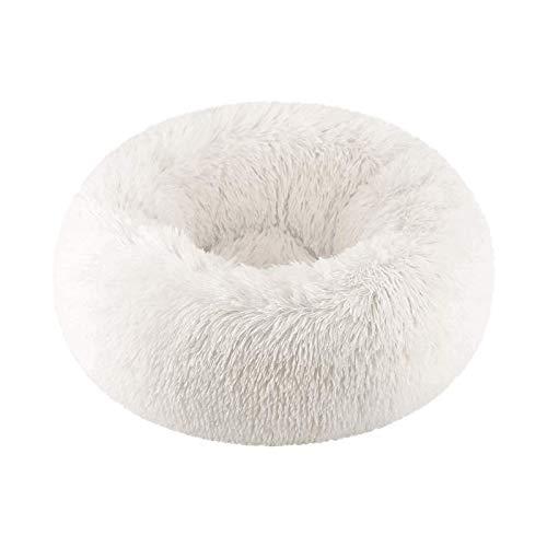 Vivi Bear Katzenbett Hundebett Extra weich angenehm süß,Katzenkissenbett waschbar,Ovales Doughnut Nesting Cave-Bett,geeignet für Katzen und kleine,mittelgroße Hunde(50 cm Durchmesser)