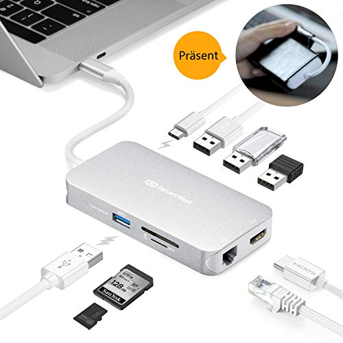 USB C Adapter, USB C HUB 9-In-1 umfasst RJ45 Port, 4K HDMI Port, USB C Ladeport, 4 USB 3.0 Ports, TF und SD Port, Portable für MacBook/Pro/Air (2018), Chromebooks und andere Typ C Laptops, MEHRWEG