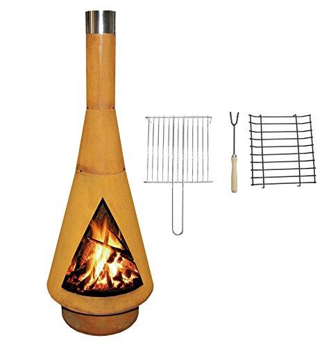 Terrassen-Ofen / Grill-Kamin: Echter Corten-Stahl Gartenkamin (Edelrost), inkl. Grill-Rost, Denver BBQ 125cm, YERD Edition