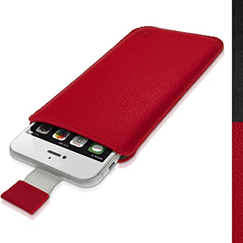 igadgitz Premium Tasche Sleeve rot Cover Case aus Leder für Apple iPhone 7, 6S & 611,9cm mit Pull Tab