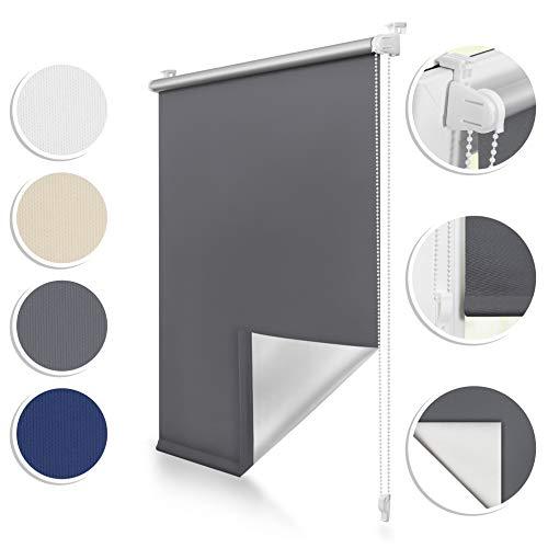 ROOMY Thermo-Rollo Klemmfix, 80 x 150 cm, ohne Bohren, blickdichte Verdunkelung für Fenster und Türen, attraktiver Sicht- und Sonnenschutz in Anthrazit, einfache Montage Dank Click-System