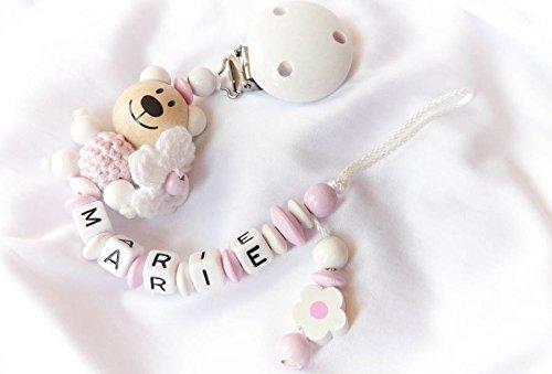 Baby Schnullerkette für Mädchen mit Teddy und Wunschnamen - Kinder - Geschenk zur Geburt, Taufe - Länge: max. 22cm (ohne Clip) - (Weiß, Blümchen)