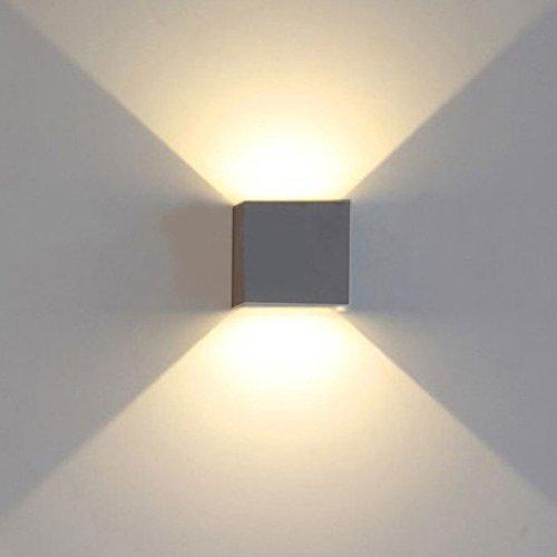 K-Bright 12W LED Wandbeleuchtung / dekorative Wandlampen, 10 * 10 * 10CM Würfel Moderne Wandleuchte, wasserdicht IP 65 LED-Wandbeleuchtung im Innen- und Außenbereich, Dunkelgraues Aluminium, Einstellbarer Lichtstrahl, warmweiß,1 Stück