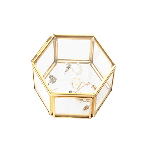 Feyarl Schmuckschatulle aus Glas, mit Verzierungen für Ringe Ohrringe Aufbewahrung Blume, Glas-Box (klein)