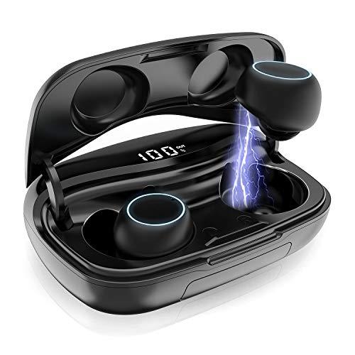 Bluetooth Kopfhörer Kabellos, iPosible Drahtlose Ohrhörer In Ear CVC 8.0 Noise Cancelling Sport Kopfhörer IP65 Wasserdicht mit LCD Digitalanzeige 3500mAh Ladebox Bluetooth 5.0 Kopfhörer für Handy