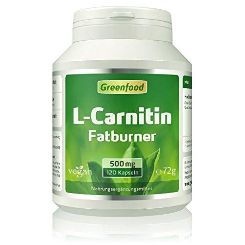 Greenfood L-Carnitin, 500 mg, 120 Kapseln, vegan - Der König der Fatburner, unterstützt Fettverbrennung , gewonnen durch natürliche Fermentation