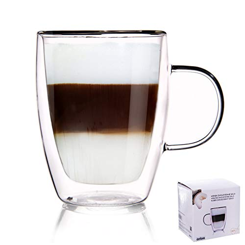 ORION Teeglas Kaffeeglas Doppelwandiges Doppelwandige Gläser Thermoglas für KAFFEE Latte Cappuccino Tee 300 ml
