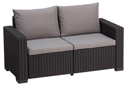 Allibert Lounge Sofa, Balkon California, 141 x 68 x 72 cm, Lounge Sofa, Rattan, graphit/panama cool grau