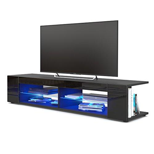 TV Board Lowboard Movie, Korpus in Schwarz matt / Fronten in Schwarz Hochglanz inkl. LED Beleuchtung in Blau