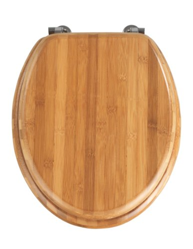 Wenko 144726100 WC-Sitz Bambus Dunkel - Chrom-Metallbefestigung, Bambus, 37 x 42.5 cm, Dunkelbraun