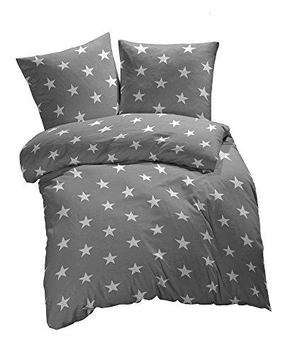 2 tlg. Renforcé Bettwäsche Sterne Muster - Ganzjahres & 4-Jahreszeiten Bettwäsche-Set - 135x200 + 80x80 cm - Grau