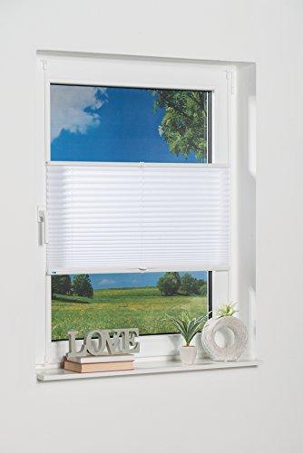 K-home Klemmfix-Plissee Palma Weiß 40 x 130 cm (B x L) Lichtschutz +++ Moderne Crushed Optik +++