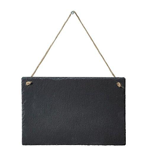 MCK-Handel Schieferplatte Schiefertafel aus Schieferstein Natur belassen Größe 30cmx20cmx0,3cm mit Band zum aufhängen als Wanddekoration Türschild, Wandschild auch zum Selber beschriften
