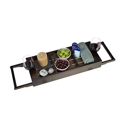 Relaxdays Badewannenablage Bambus, ausziehbares Badewannenbrett, Ablage für Seife & Schwamm, Wannenablage, Dunkelbraun