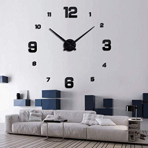 KDJ DIY 3D Wanduhr Aufkleber Home Office Wohnzimmer Schlafzimmer Uhr Geschenk Dekoration (Black)