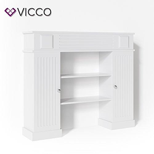 VICCO Kaminumrandung im Landhaus Stil mit Tür 119,5 x 103 cm in Weiß - Umbau Sims Rahmen Konsole Kamin Elektrokamin Gelkamin
