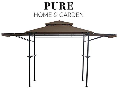 Pure Home & Garden Luxus Grill Pavillon 'San Lorenzo', wasserabweisend mit stabilen Seitenablagen und klappbaren Seitenteilen