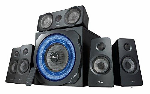Trust Gaming GXT 658 Tytan 5.1 Surround Lautsprecher Set mit Fernbedienung (180 Watt, LED Beleuchtung) schwarz