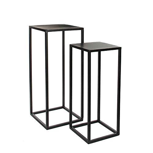 MICA Decorations Beistelltische Goa, Schwarz Metall 2er Set 70 und 60 cm hoch - Satztische - Couchtische - Pflanztische