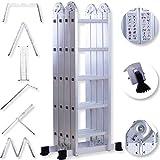 Masko 6in1 Mehrzweckleiter 5.56M ALU Anlegeleiter Klappleiter Stehleiter Aluminium Modell: 4 x 5 Stufen