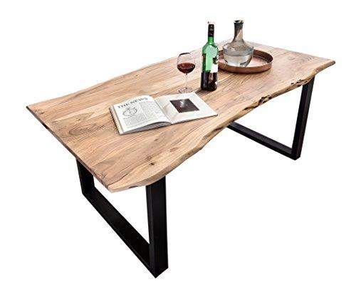 SAM Esszimmertisch Quentin 200x100 cm aus Akazie-Holz, Tisch mit schwarz lackierten Beinen, Baum-Tisch mit natürlicher Optik